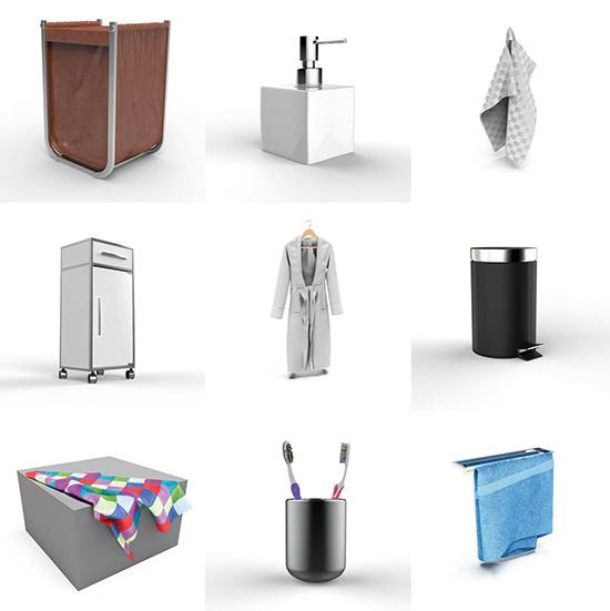 Dosch design dosch 3d bathroom accessories for Bathroom 2d planner