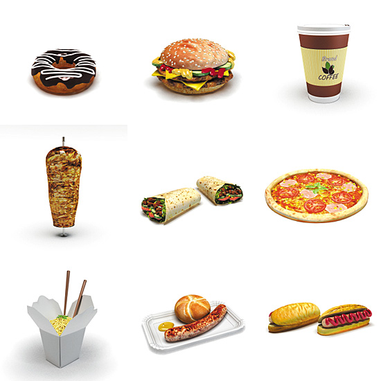 Dosch design dosch 3d fast food for Food bar 3d model