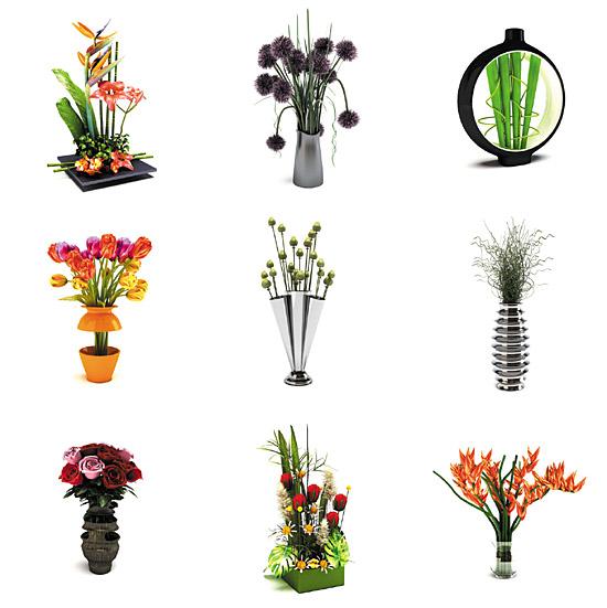 Dosch design dosch 3d modern floral decoration for Decoration 3d model free download