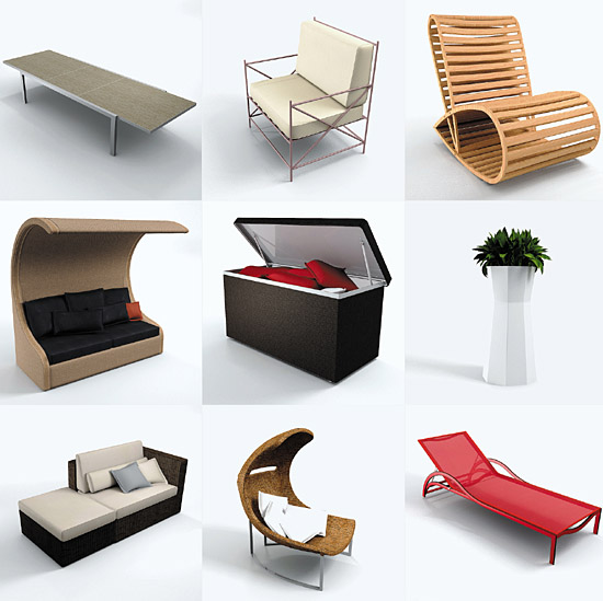 the completely textured 3d models are provided in multiple file formats 3ds 3dsmax version 9 and above 3dsmax v9 vray 3dsmax v9 mental ray - Garden Furniture 3d Model