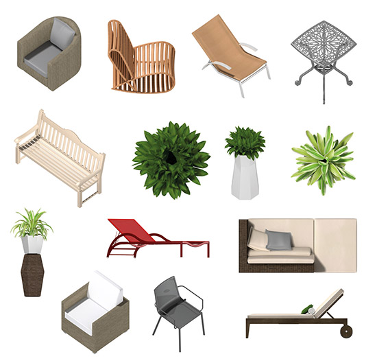 help to demonstrate relevant dimensions and proportions and which add life to the design the product contains 720 depictions of outdoor furniture