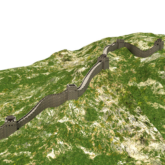 The detailed and fully textured 3d model of the great wall in china